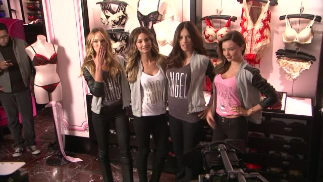 candice swanepoel lily aldridge adriana lima miranda kerr at 2012 victoria's secret angel holiday celebration at victoria's secret manhattan on... - miranda kerr stock videos and b-roll footage