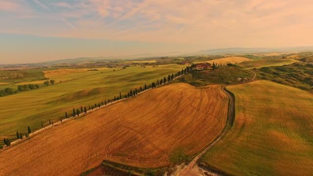 foto aerea del paesaggio della toscana - hill video stock e b–roll