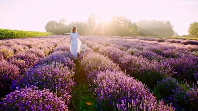 stockvideo's en b-roll-footage met slo mo candid shot van een vrouw lopen onder lavendels - zonnehoed hoed
