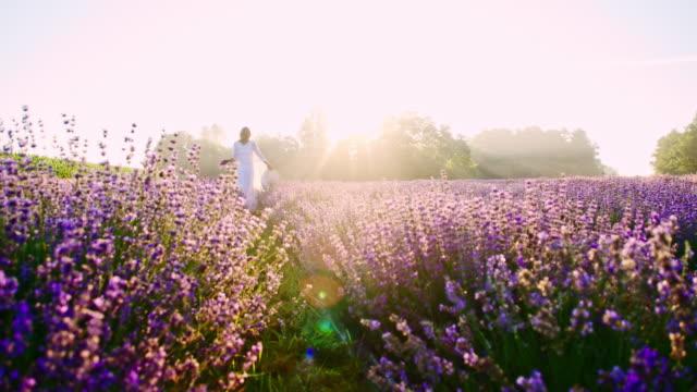 SLO MO Candid shot van een vrouw lopen onder lavendels