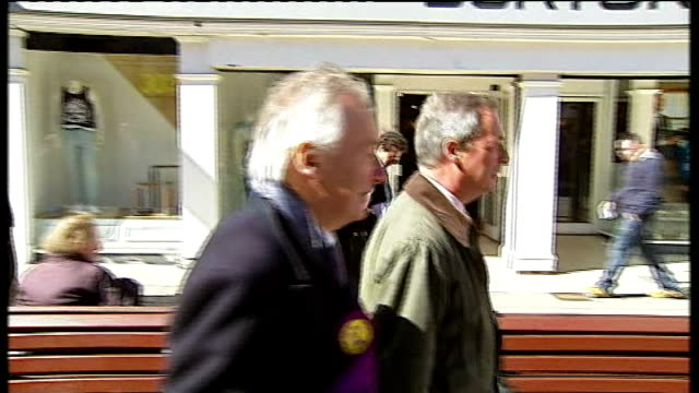 ukip candidate denies endorsing sharia law lib south shields ext nigel farage along through town centure during byelection campaign - south shields stock videos & royalty-free footage