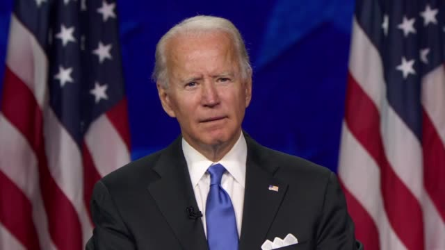 candidate for president joe biden says in his nomination acceptance speech that for seniors, social security was a sacred obligation and sacred... - 社会保障点の映像素材/bロール