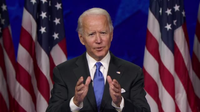 candidate for president joe biden takes a moment in his nomination acceptance speech to to say something not said nearly enough, thinking president... - altruismo video stock e b–roll