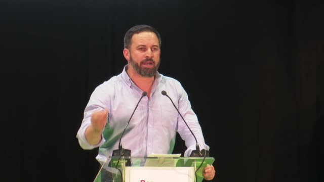 candidate for prime minister for the spanish farright party vox santiago abascal delivers a speech during the campaign rally in valencia on april 25... - political party stock videos & royalty-free footage