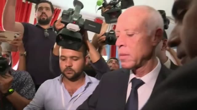 candidate kais saied casts his vote in tunisia's presidential runoff - presidential candidate stock videos & royalty-free footage