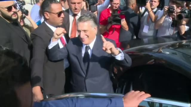 candidate nabil karoui casts his vote in the tunisian presidential runoff and takes the opportunity to encourage his supporters to do the same - tunis stock videos & royalty-free footage