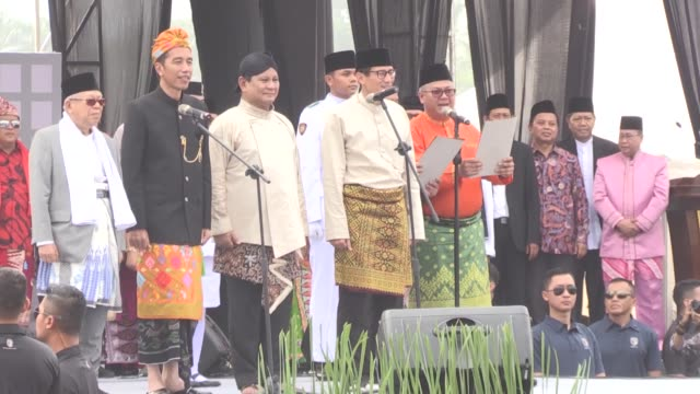 Candidates of Indonesia's parliament and presidential elections get together to declare a peace declaration for the upcoming general election...