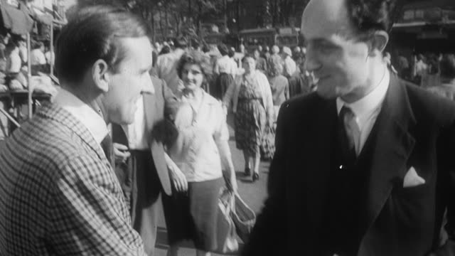 1960 b/w a candidate's wife talking to voters and candidates speaking at meetings / united kingdom - general election stock videos & royalty-free footage
