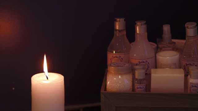 ms of candle and bath salts - spa treatment stock videos & royalty-free footage
