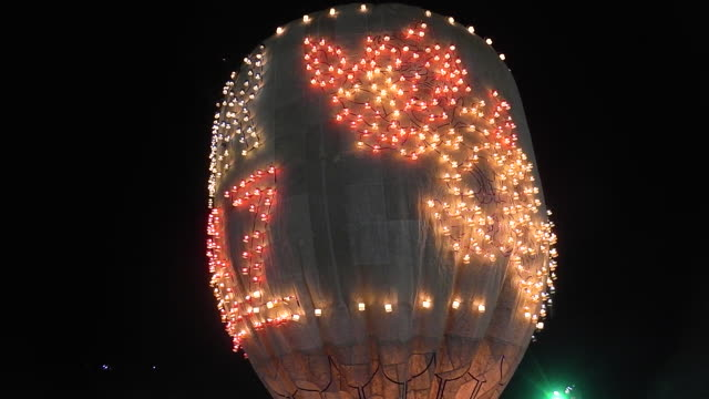 A candle balloon at the annual Taunggyi Fire Balloon festival in Taunggyi Myanmar Hundreds of teams from Taunggyi and surrounding villages compete to...