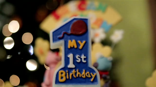 candle for the first birthday - number 1 stock videos & royalty-free footage