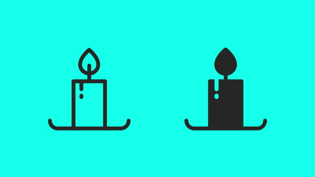 candle icons - vector animate - candlelight stock videos & royalty-free footage