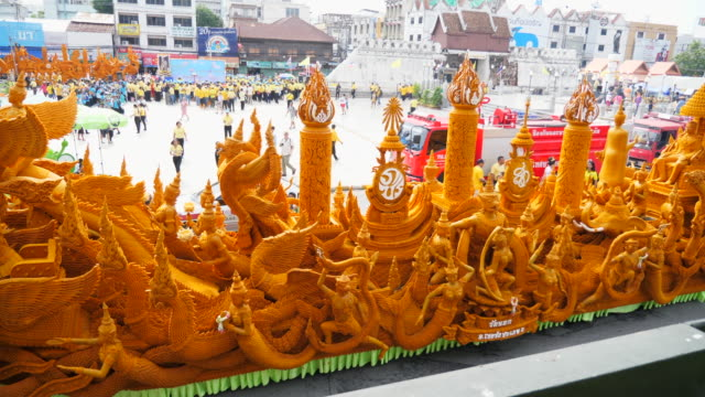 candle parade in buddha day, thailand traditional festival - festival float stock videos & royalty-free footage