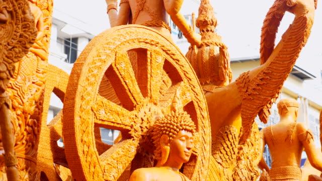 kerze-parade in buddha tag, thailand volksfest - tierkörper stock-videos und b-roll-filmmaterial
