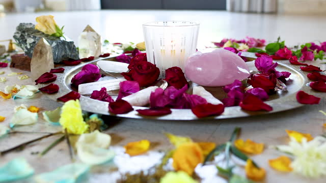 candle, stones and rose petals - new age stock videos & royalty-free footage