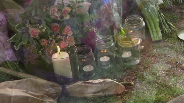 candlelit vigil in aylesham for julia james who was murdered in woodland near dover, kent - tree area stock videos & royalty-free footage