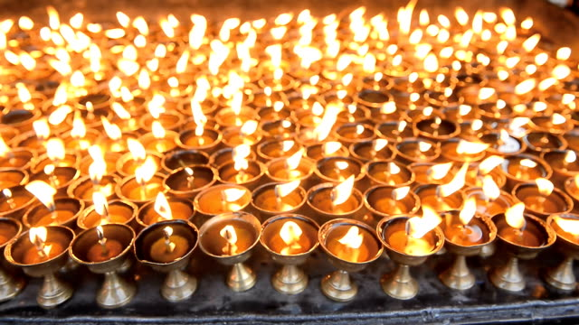 Candles at temple in Kathmandu, Nepal
