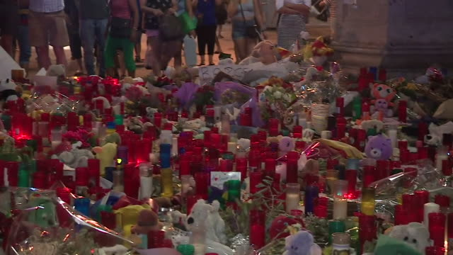 Candles flowers and other gifts are left in tribute to the victims of the Barcelona terror attack of August 2017 Spain NNBZ102A AE number ABSA627D