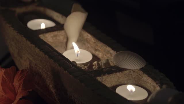candles in spa / uga bay, sri lanka - tea light stock videos and b-roll footage