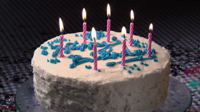 cu, candles on birthday cake being blown  - birthday stock videos & royalty-free footage