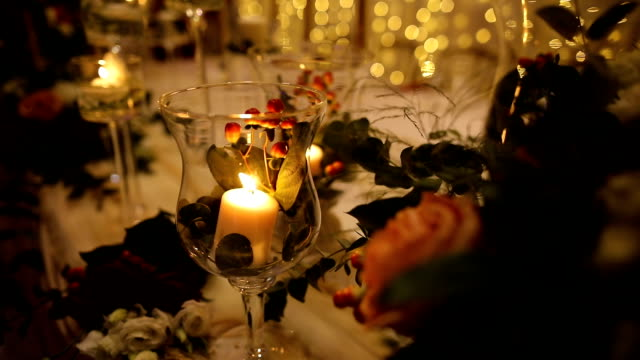 candles on the table decoration for a wedding evening - ornate stock videos & royalty-free footage