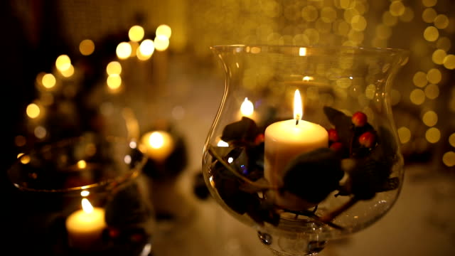 candles on the table decoration for a wedding evening - banquet hall stock videos & royalty-free footage