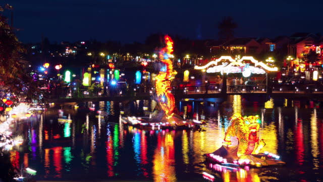 Candles on Thu Bon River, Hoi An, during the full moon festival