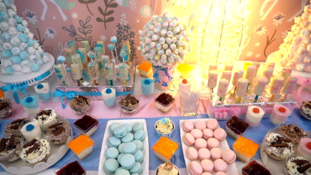 candy bar dessert table - banquet stock videos & royalty-free footage