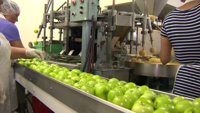 ktla candy factory making caramel apples - karamell stock-videos und b-roll-filmmaterial