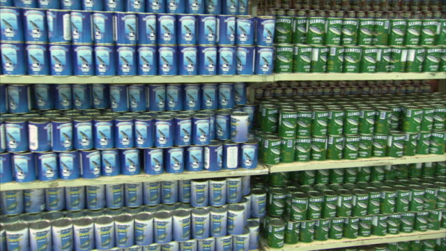 MS PAN Canned food arranged on shelves, people waiting at check outs at Mission Mercal store / Cabimas, Zulia, Venezuela