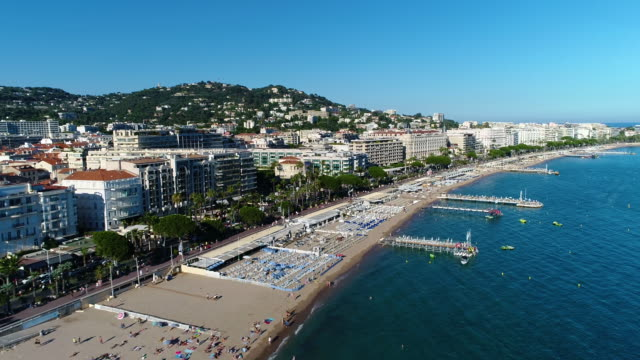 cannes, aerial view over the croisette - cannes stock videos & royalty-free footage