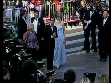 stockvideo's en b-roll-footage met cannes: ext tms prince and princess of wales arriving at the cannes film festival - internationaal filmfestival van cannes