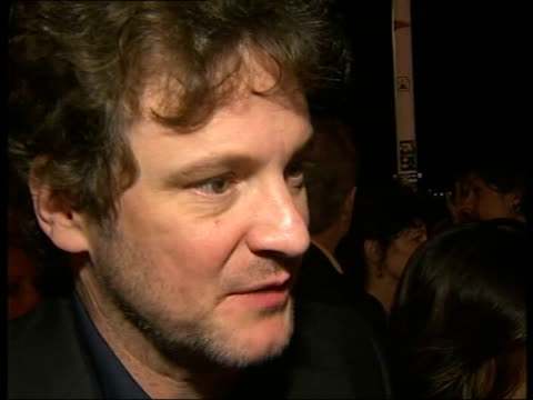 vídeos de stock, filmes e b-roll de 'st trinian's' party arrivals and interviews colin firth interview sot on promoting the film before it is made / he got involved with the film... - colin firth