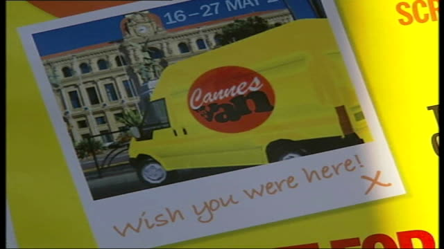 British set up 'Cannes in a Van' Poster advertising 'Cannes in a van' Poster depicting drawing of a young Brigitte Bardot Film projector on a shelf...