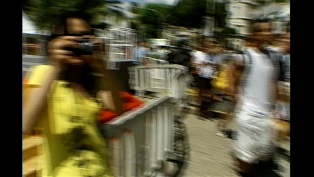 preview; glass past cannes film festival poster japanese man filming japanese woman taking photograph french tv star signing autographs as filmed - autogramm stock-videos und b-roll-filmmaterial