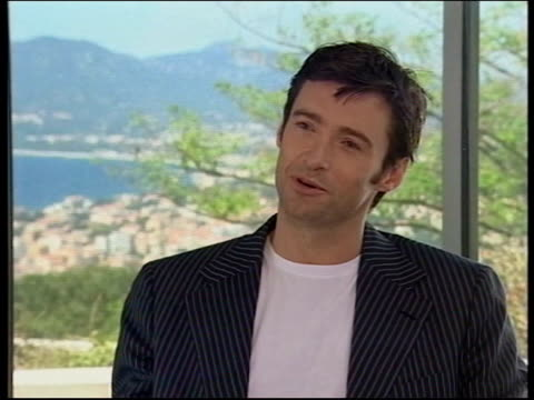 men 3; cannes: int hugh jackman interview sot - worst question was do you wear boxers or briefs and its going to be very difficult for me to be... - ハル・ベリー点の映像素材/bロール