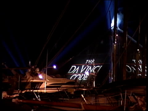 stockvideo's en b-roll-footage met xmen 3 night large tent in shape of pyramid advertising film 'the da vinci code' - the da vinci code