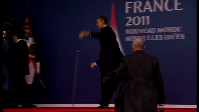 cannes g20 summit dominated by eurozone crisis france cannes us president barack obama from car to shake hands with french president nicolas sarkozy... - g20 leaders' summit stock videos & royalty-free footage