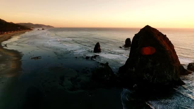 cannon beach and haystack rock - haystack rock stock videos & royalty-free footage