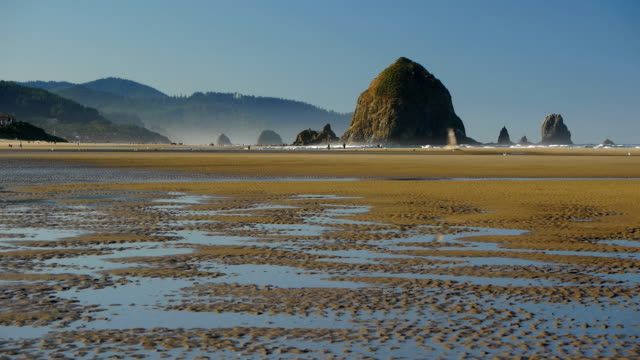 hd cannon beach oregon - haystack rock stock videos & royalty-free footage