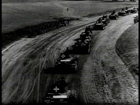 cannon large artillery pointed up firing. german tanks moving up rural road. maps: denmark norway holland belgium france england. wwii - tank stock videos & royalty-free footage