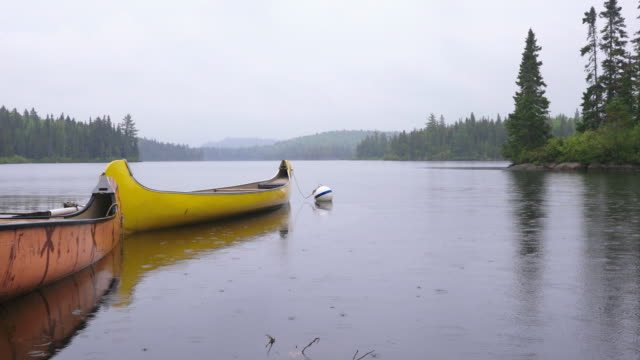 canoe floating on the lake on a rainy day, parc national de la mauricie, quebec, canada - floating on water stock videos & royalty-free footage