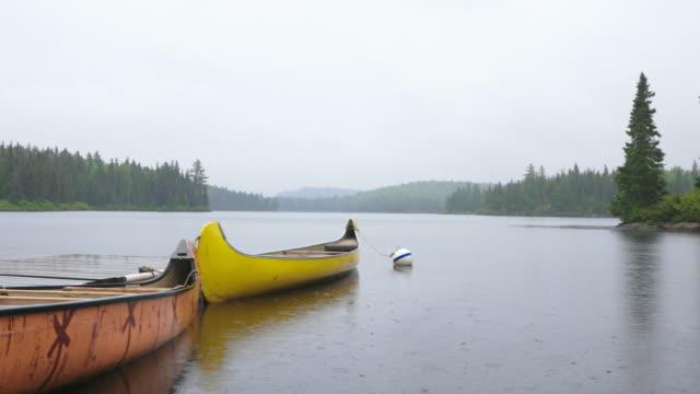 vidéos et rushes de canoe flottant sur le lac un jour pluvieux, parc national de la mauricie, québec, canada - parc national