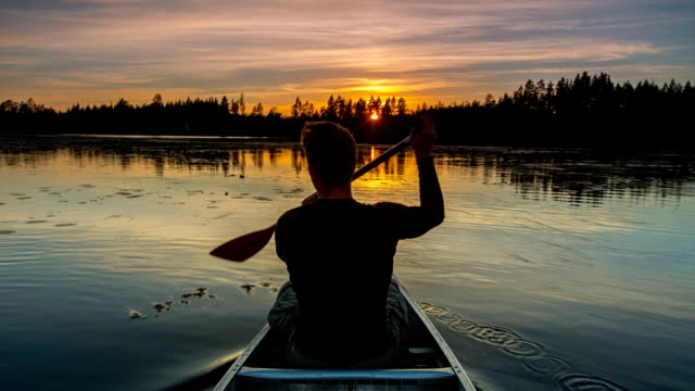 canoeing at sunrise - lake stock videos & royalty-free footage