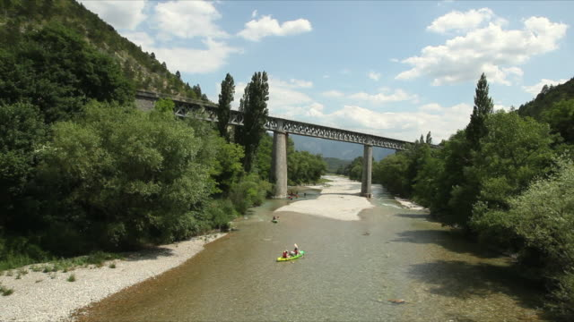ws ha canoeing in drome river, near village of pontaix / rhone-alpes, france - rhone alpes stock videos & royalty-free footage