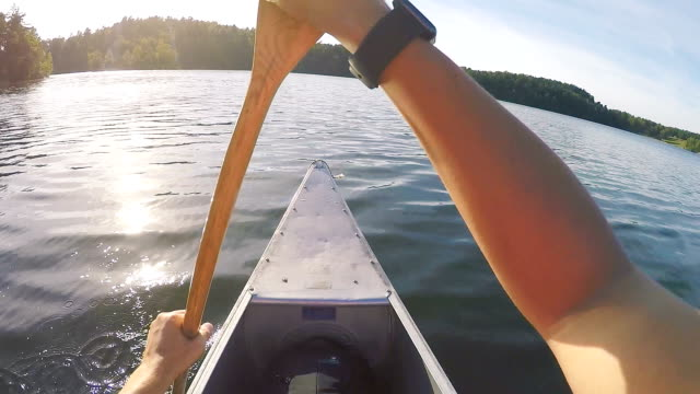 canoeing in sweden point of view - kayaking stock videos & royalty-free footage
