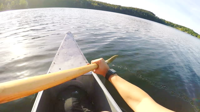 canoeing in sweden point of view - canoe stock videos & royalty-free footage