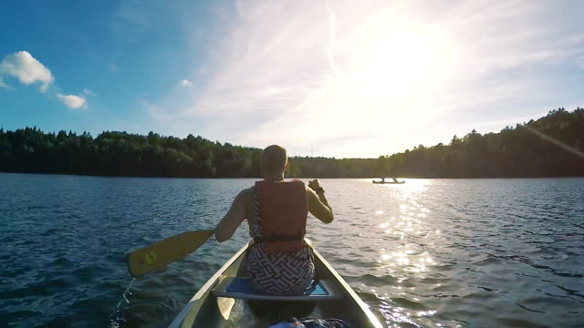 canoeing in sweden slow motion - canoeing stock videos and b-roll footage