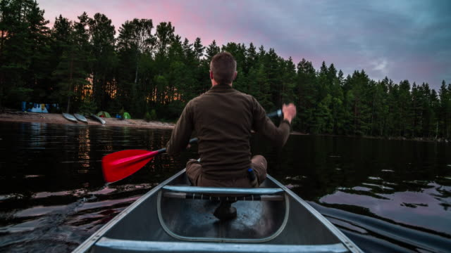 canoeing in the wilderness of sweden - ship's bow stock videos & royalty-free footage
