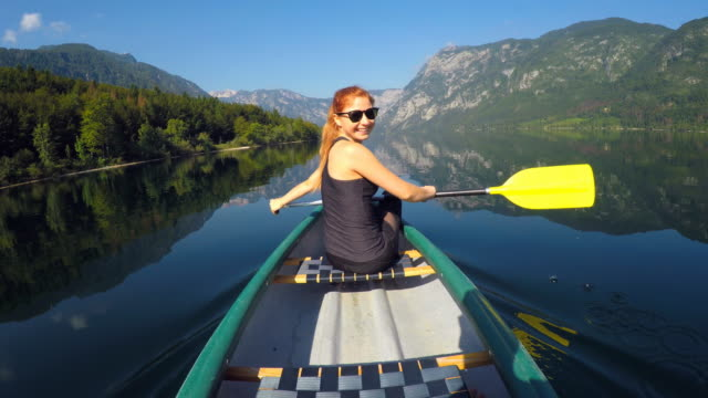 Canoeing on a lake in summer